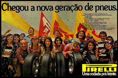 pneus Pirelli.  1975. brazilian advertising cars in the 70. os anos 70. história da década de 70; Brazil in the 70s; propaganda carros anos 70; Oswaldo Hernandez;