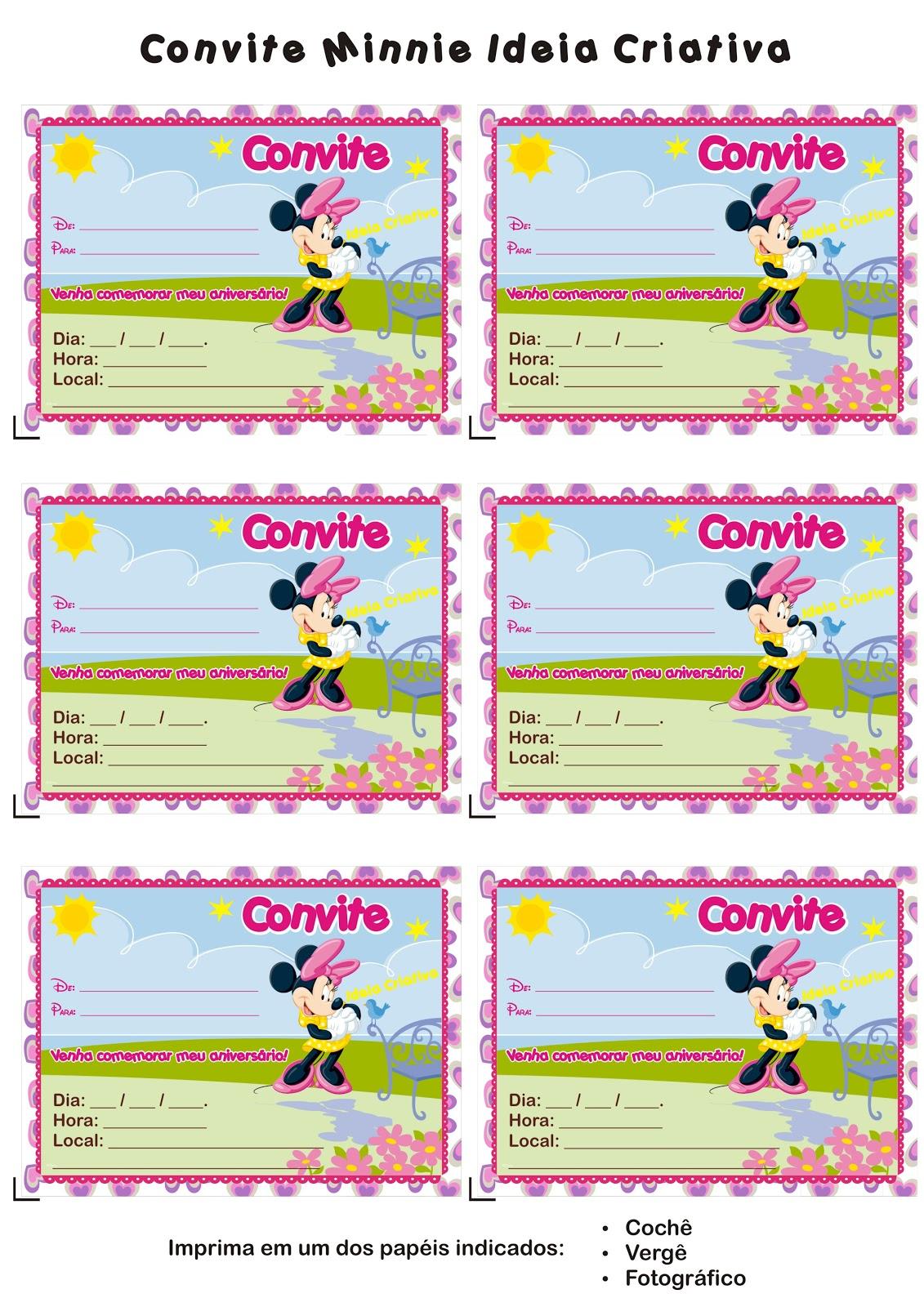 Convite Minnie Para Imprimir Gr  Tis