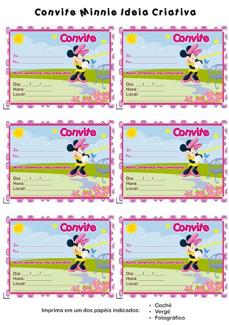 Convite Minnie Para Imprimir Grátis