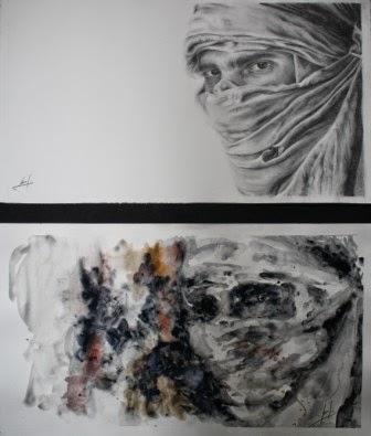 Ojos Jaime I y III. Composición Grafito y Acuarela 2012. 2x(30x54cm)