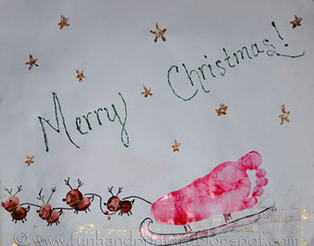 Kids Christmas Craft, Footprint Sleigh , Thumbprint Reindeer