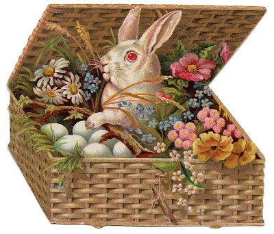 Vintage Easter Clip Art of Bunny in Basket