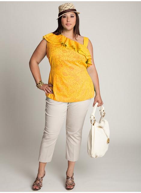 blusas de moda para gorditas amarilla