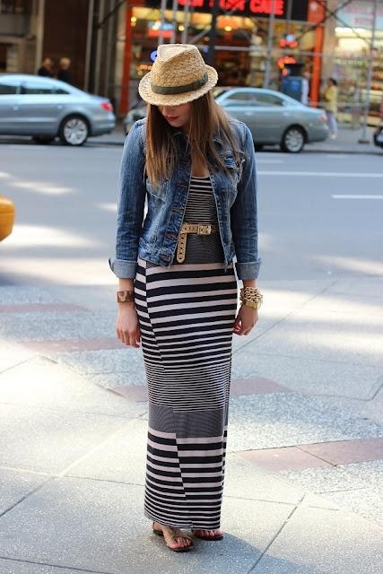 vestido listras jaqueta jeans