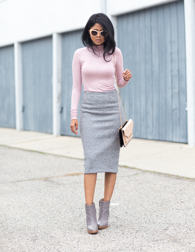 Image result for fitted turtleneck with pencil skirt