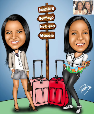 desenho de filha e mãe viajando