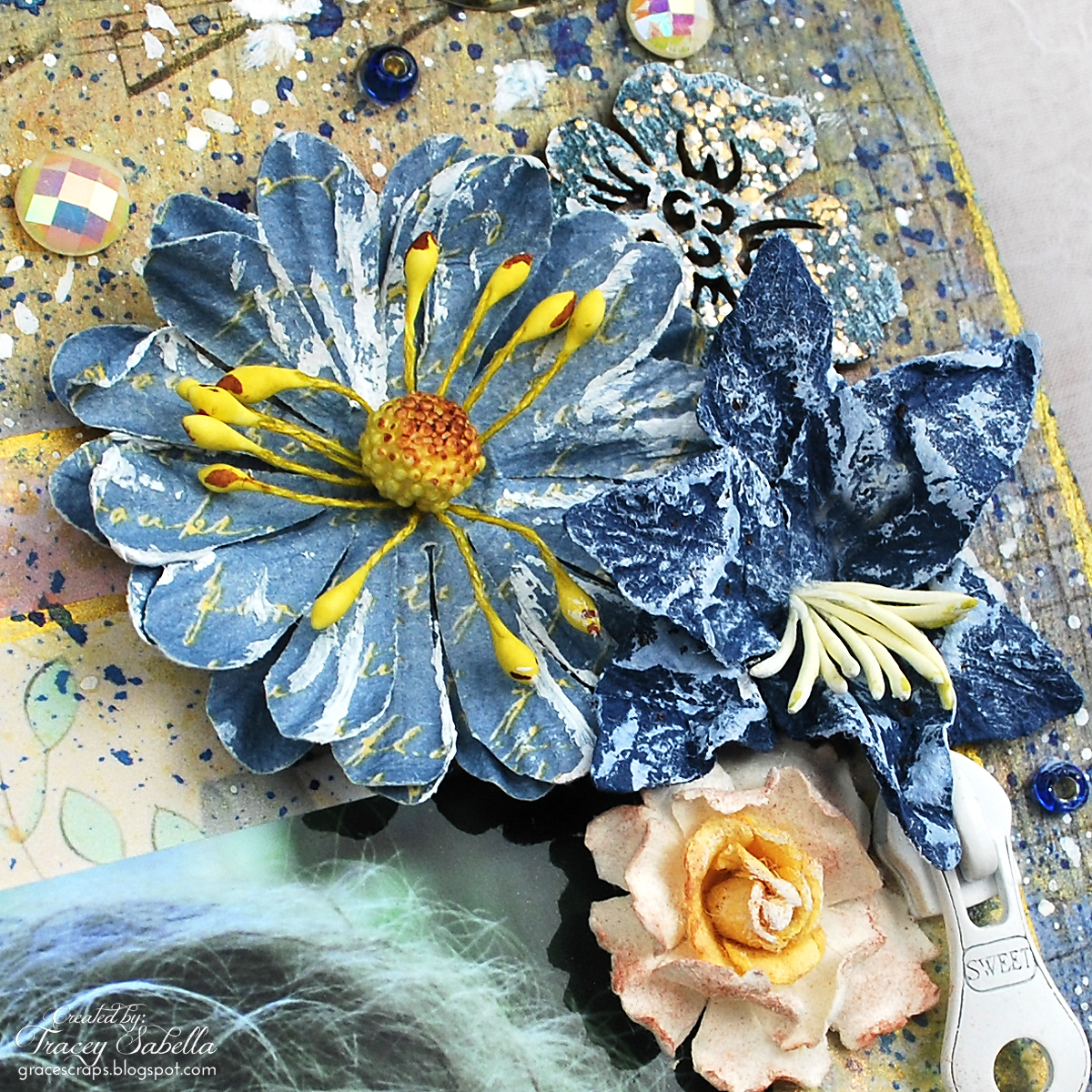 Mixed Media Layout by Tracey Sabella for Berry71Bleu, summer, handcrafted flower