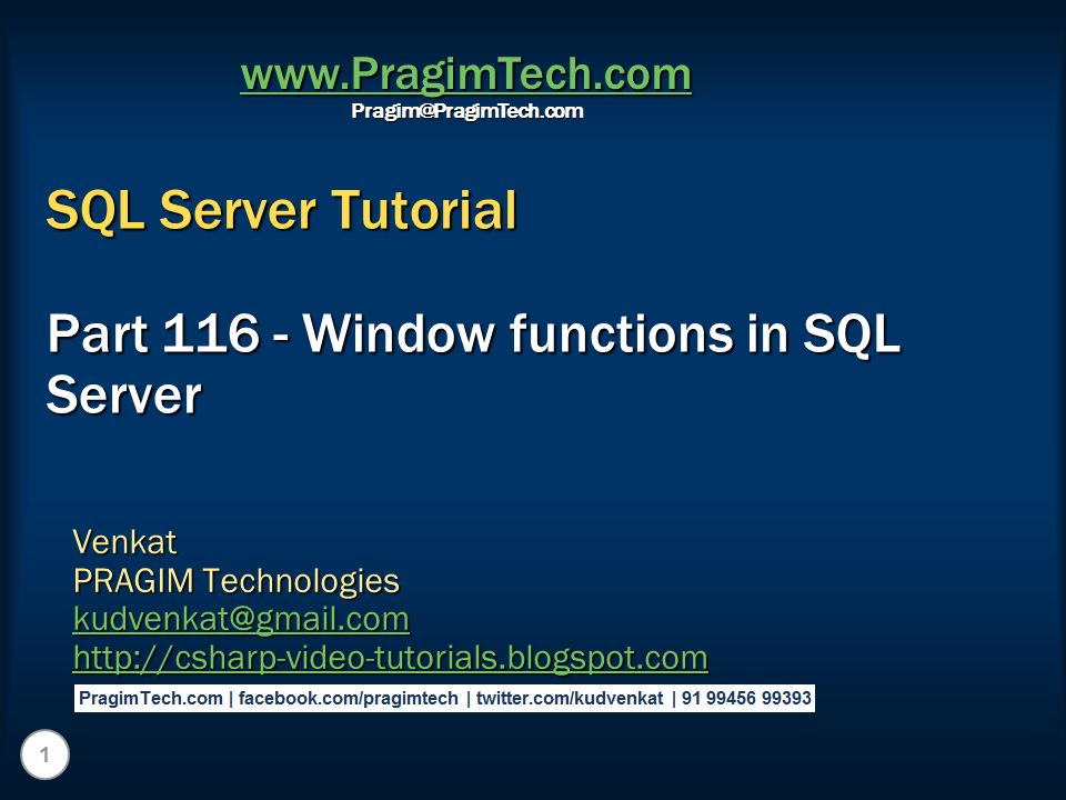 Sql server net and c video tutorial window functions for Window functions