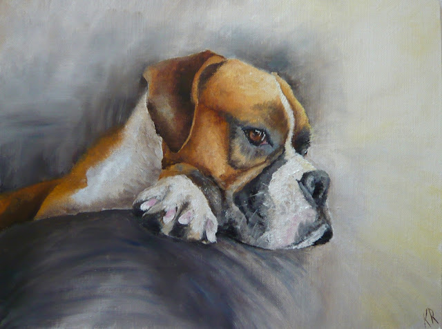 oil painting of boxer dog, a pet portrait, animal portrait