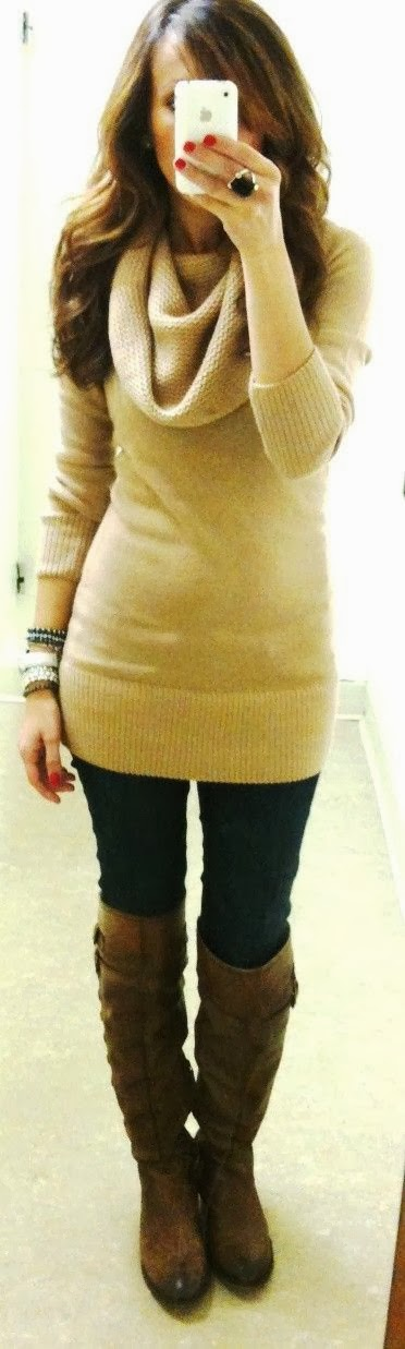 Sweater+leggings & boots. Love love Can't wait!