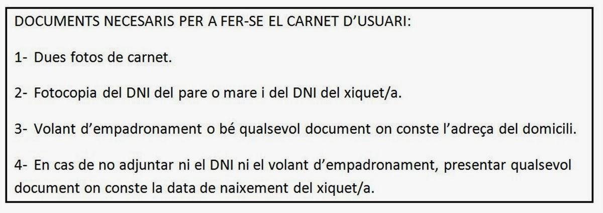 DOCUMENTACIÓ A ADJUNTAR PELS NOUS USUARIS