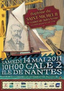 Botadura de la réplica del St Michel II, uno de los barcos de Verne en Nantes. Bapteme1