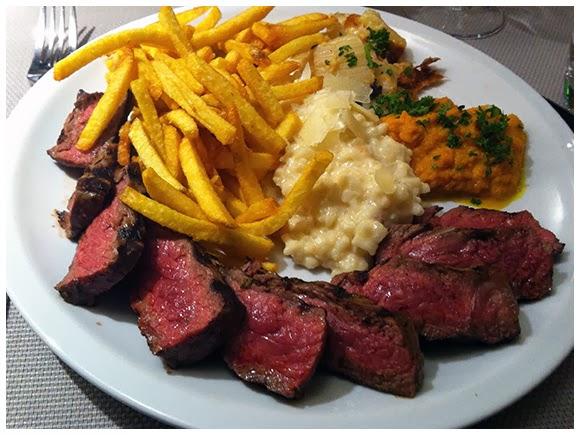 Entrecôte, risotto, fries cardoon gratin - Mont-Salève, Geneva