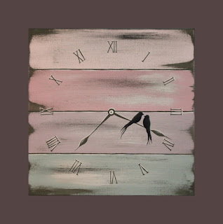 Original Acrylic Abstract Painting Canvas Clock Love Birds Antique Rustic Old Wood Pastel Spring Custom Wedding Engagement Baby Gift Idea