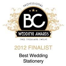 BC Professional Wedding Awards Finalist 2012 | Best Stationery