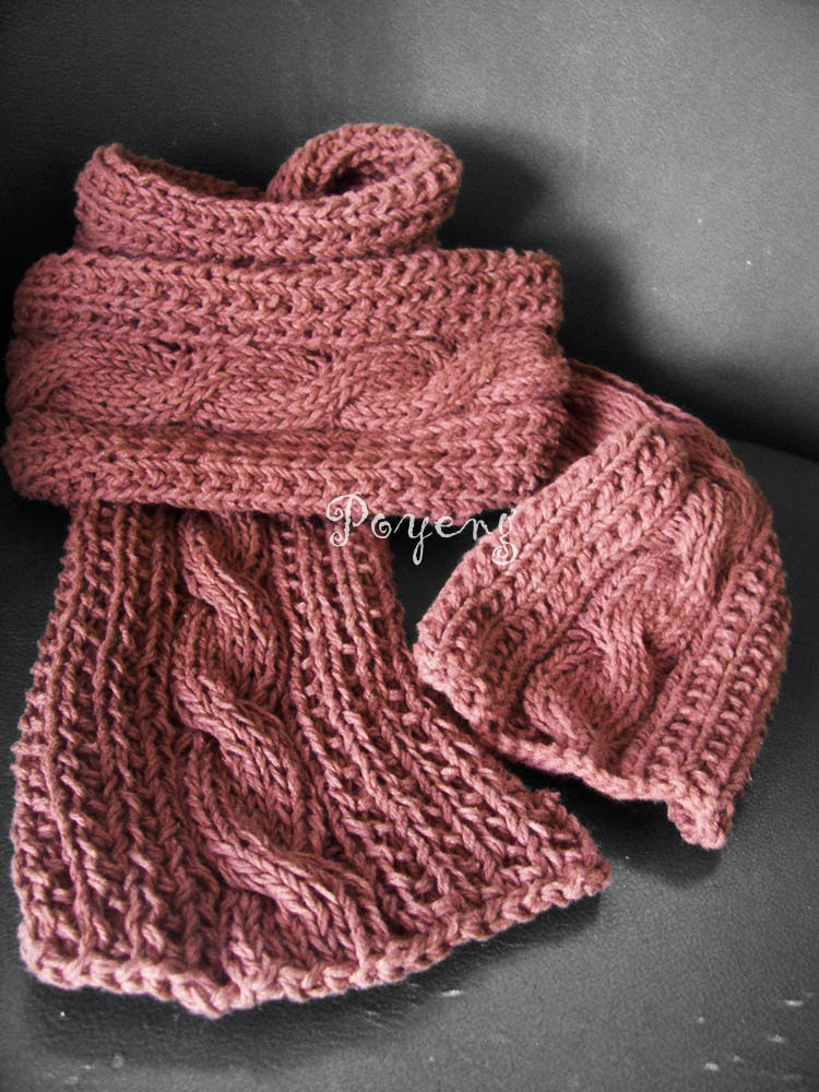 Knitting Pattern For Easy Cable Scarf : Ajeng Belajar Merajut: Rajut Free Knitting Pattern : Cable Scarf