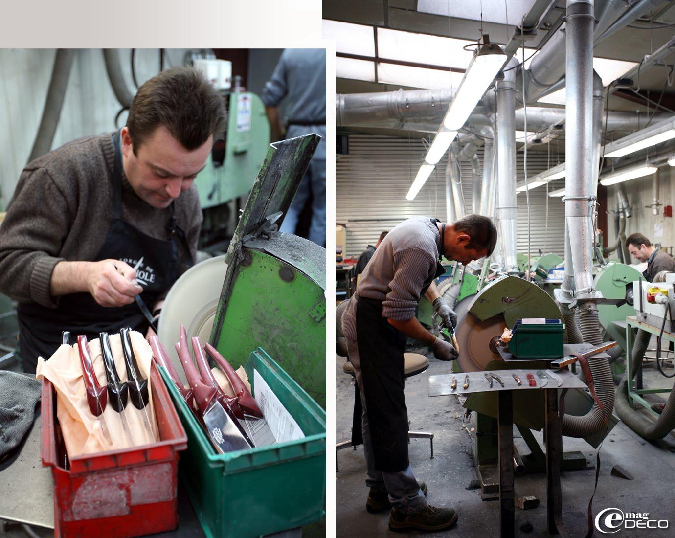 Atelier de polissage, dernière étape de la fabrication des couteaux de Laguiole