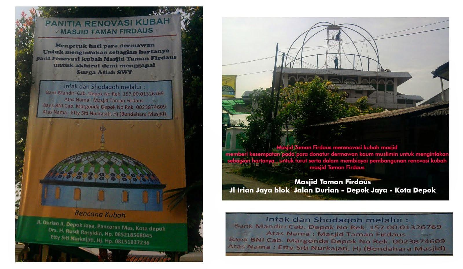 infak sodaqoh pembangunan Kubah masjid taman firdaus