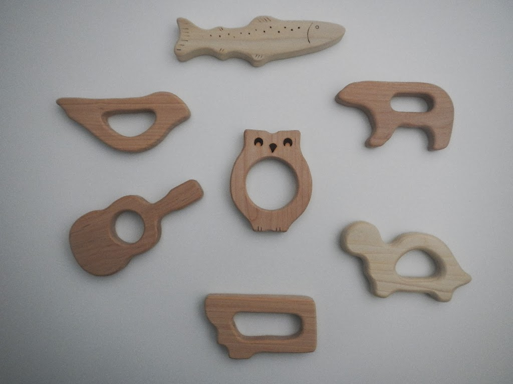 handmade hard wood all natural baby toddler teething toy