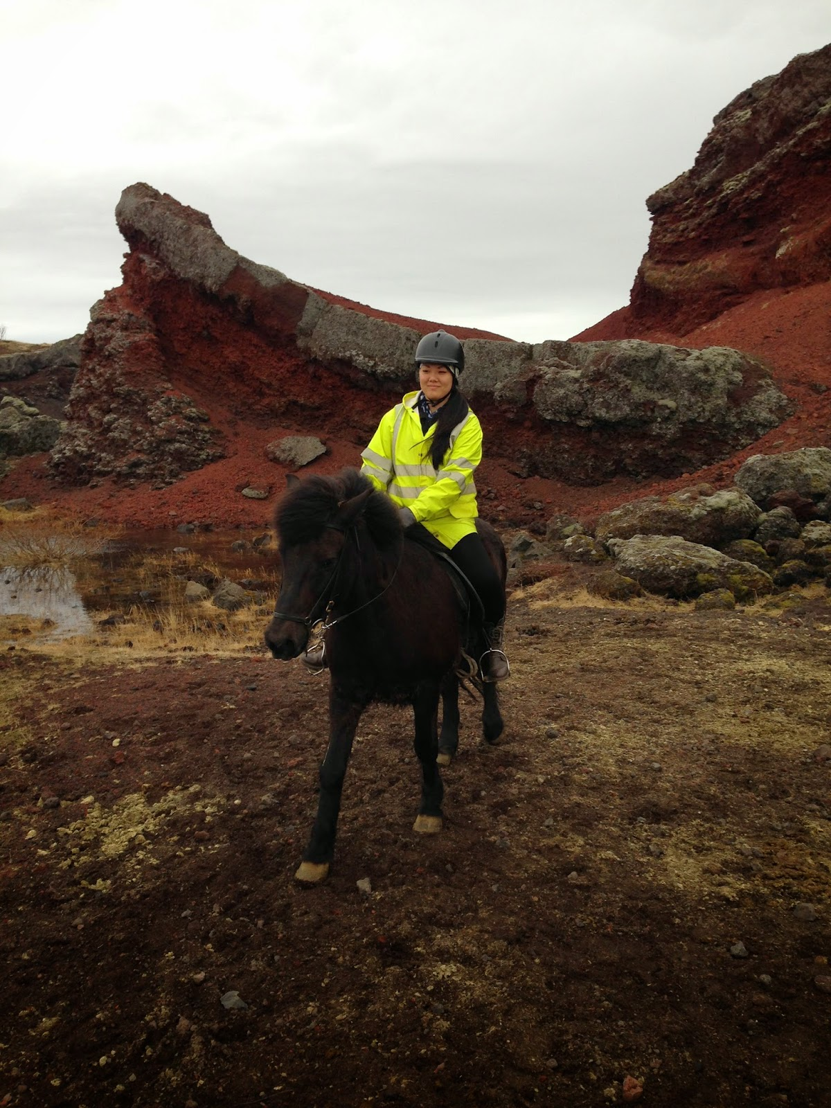Horse back riding through the lava fields