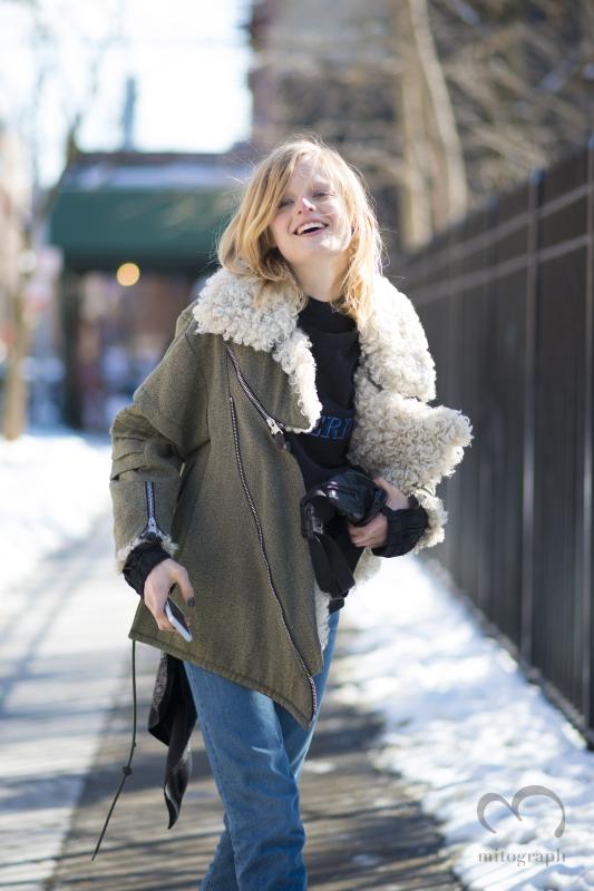 Model Hanne Gaby Odiele at New York Fashion Week NYFW