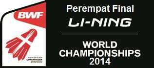 Hasil Pertandingan Babak 8 Besar (Perempat Final) BWF World Championships 2014
