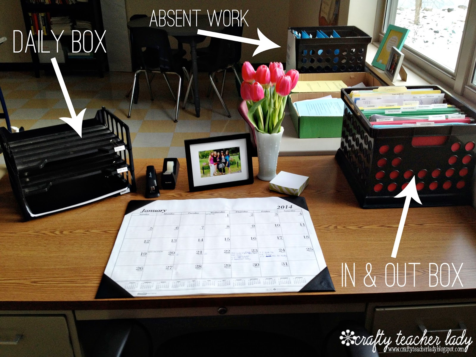 Classroom Organization Proven on stackable desk trays