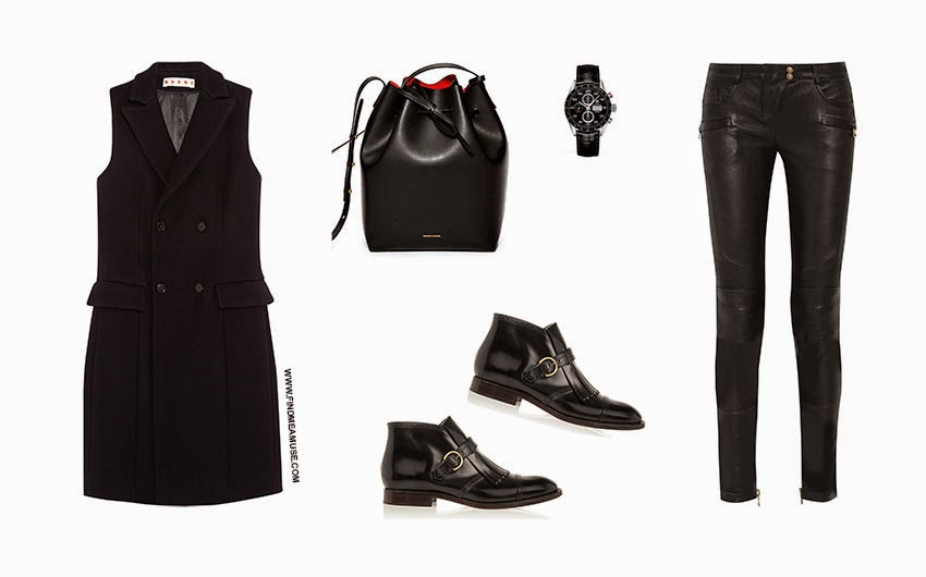 Find Me A Muse 'simplicity of leather outfit' Marni jacket Tag Heuer watch Mansur Gavriel Bag Marck Jacobs monk shoes Balmain leather pants