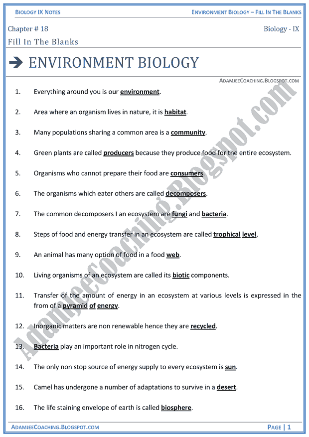 environmental-biology-fill-in-the-blanks-biology-notes-for-class-9th