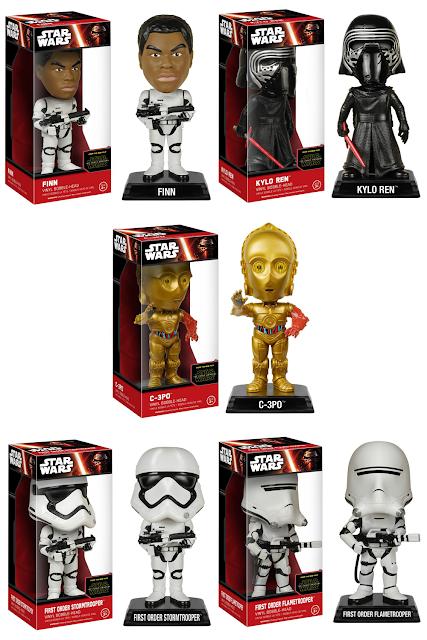 Star Wars: The Force Awakens Wacky Wobbler Bobble Heads Series 2 by Funko - Finn in Stormtrooper Gear, Unhooded Kylo Ren, C-3PO, First Order Stormtrooper & First Order Flametrooper