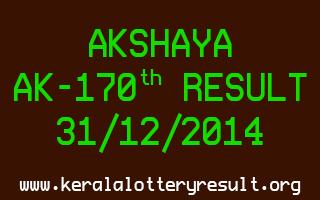 AKSHAYA Lottery AK-170 Result 31-12-2014