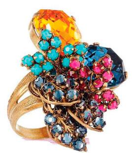 anillo con piedra de colores