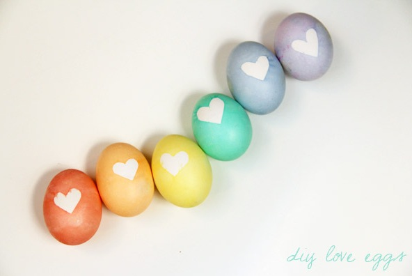 DIY easter eggs with hearts