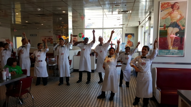 Dancing at Johnny Rockets