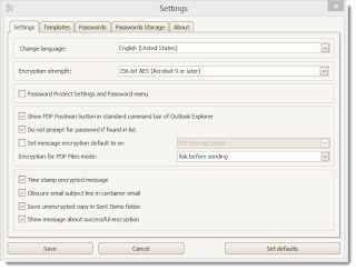 PDF Postman settings tab in Outlook 2013.