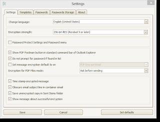 PDF Postman settings tab in Outlook 2013.