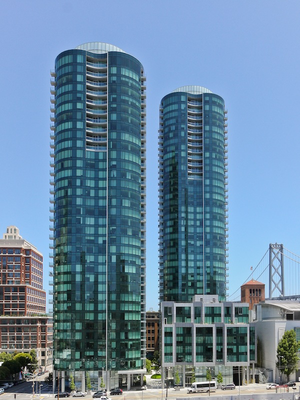 Picture of two residential skyscrapers where duplex apartment is located