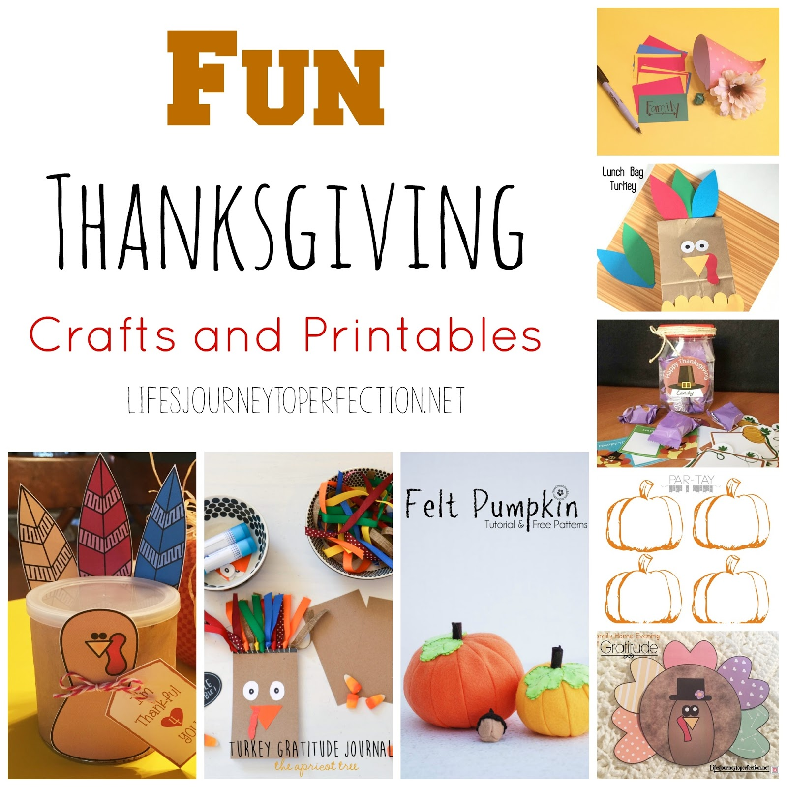 Life\'s Journey To Perfection: Fun Thanksgiving Crafts and Printables