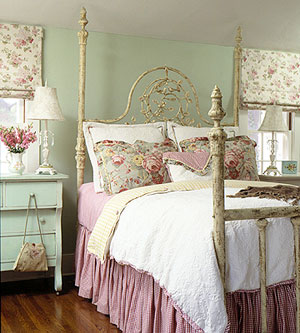 A Shabby Chic Bedroom Using Florals And Pastel Colours