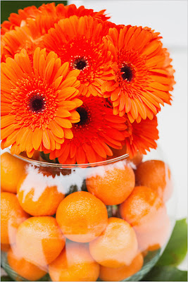orange daisy gerbera centerpiece