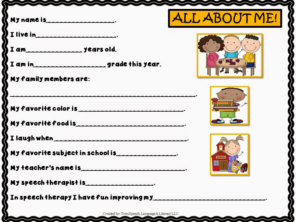 Twin Speech Language Literacy LLC – All About Me Worksheet for Adults