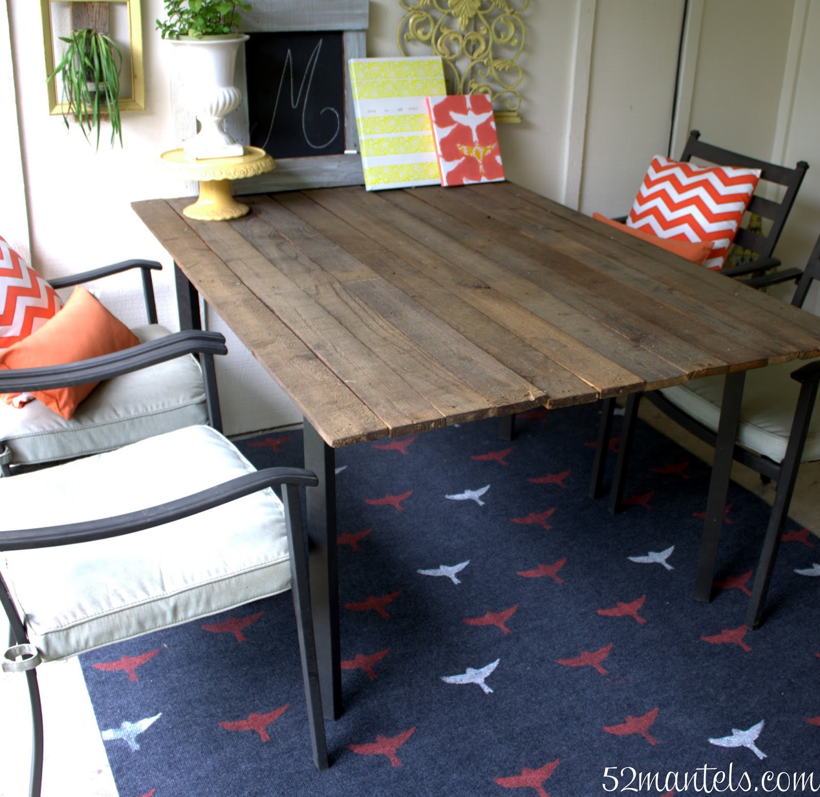 52 Vivacious Summer Porch Decor Ideas: 52 Mantels: Stenciled Outdoor Rug (Put A Bird On It