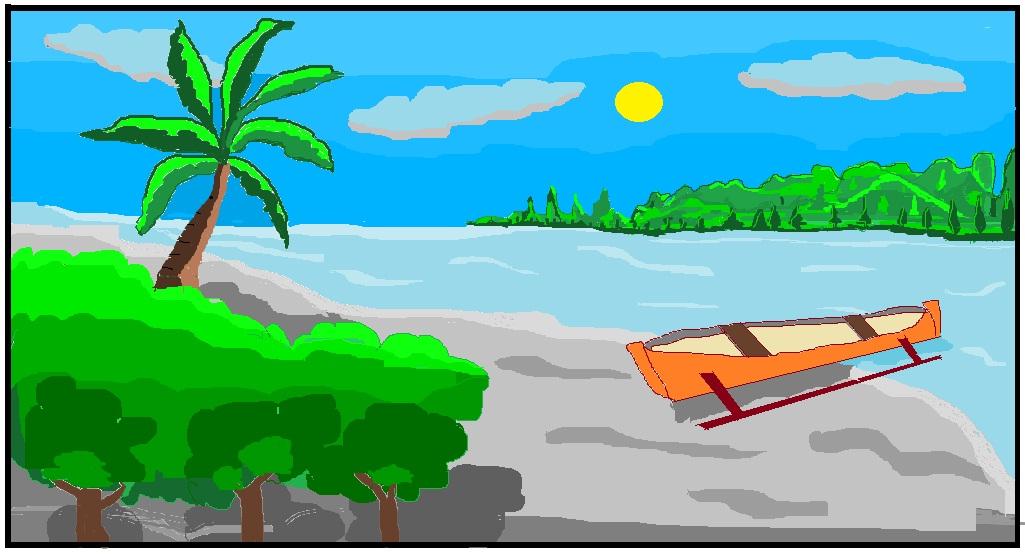 Menggambar pemandangan pantai