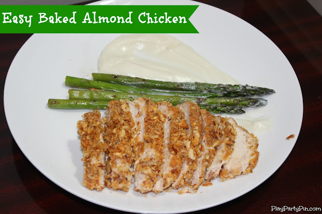 Easy baked almond chicken by playpartypin.com