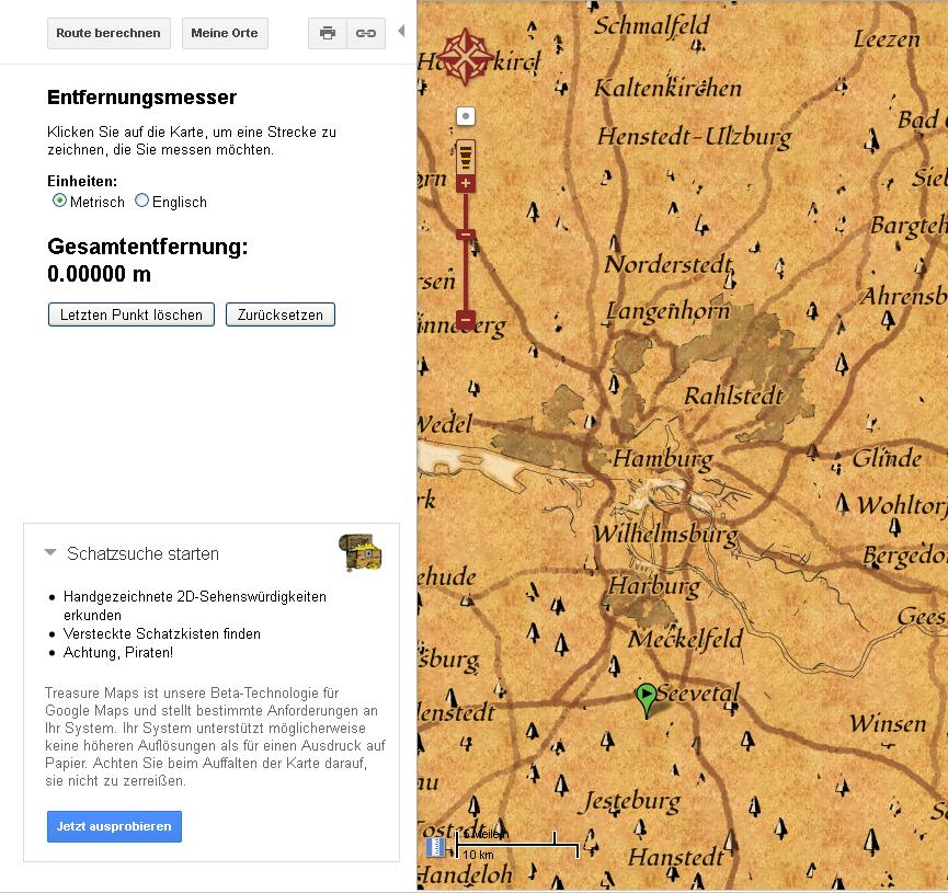 Google-Maps Schatz bietet Schatz-Suche an