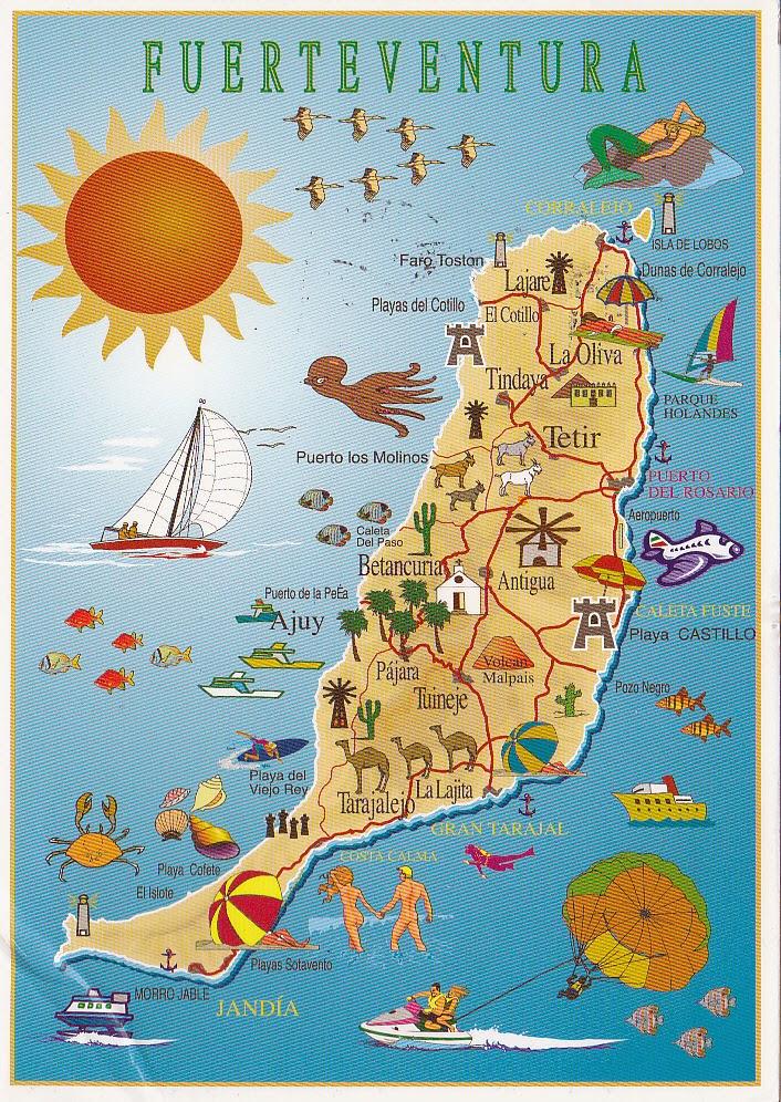Postcard A La Carte Canary Islands Fuerteventura Map