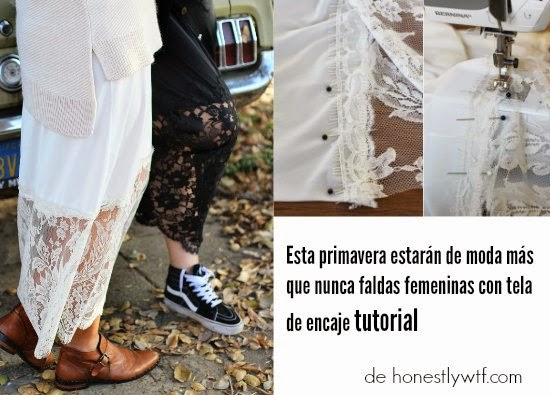 encaje, falda, tela, diy, tutorial