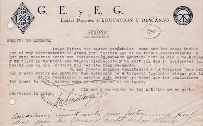 Notificación del G.E. y E.G. en 1943