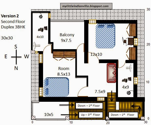 My little indian villa 27 r20 1bhk and 3bhk in 30x30 for 30x30 house plans india