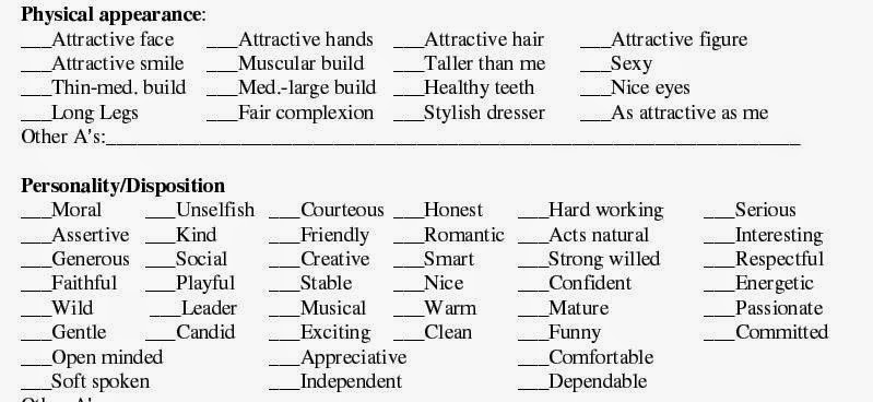 ideal relationship list